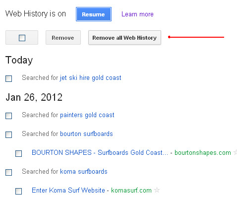 Google Web History Listings