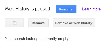 Google Web History Removed