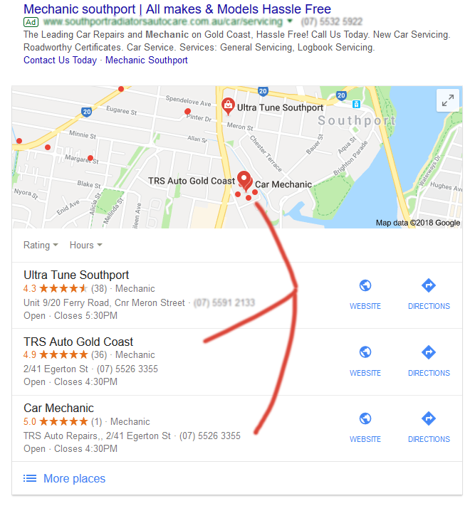 Google My Business Listing for Mechanic Southport
